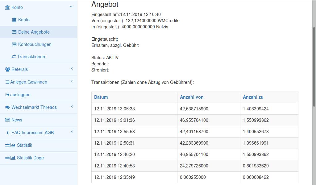 Screenshot Wechselmarkt, von 4000 nachgefragten Netzis werden mir Häppchenweise 40 verkauft